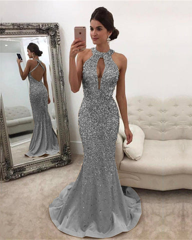 Image of Silver Mermaid Prom Dresses Crystal Beaded Evening Gown