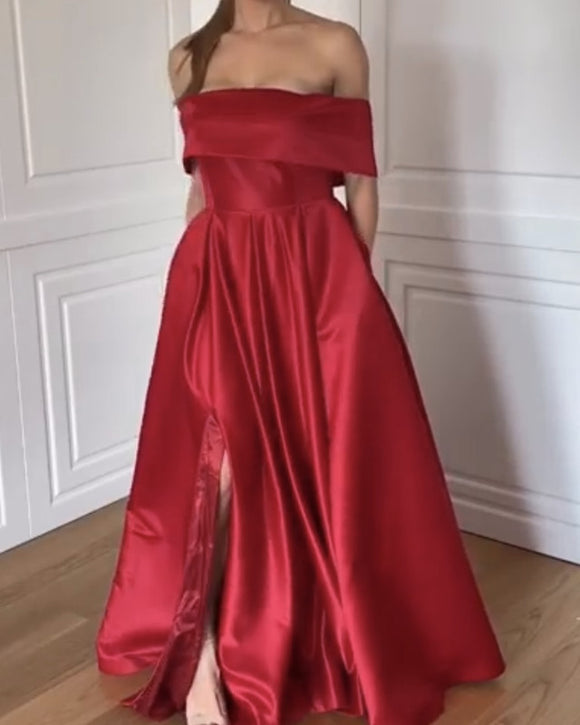 Dark Red Prom Dresses Long
