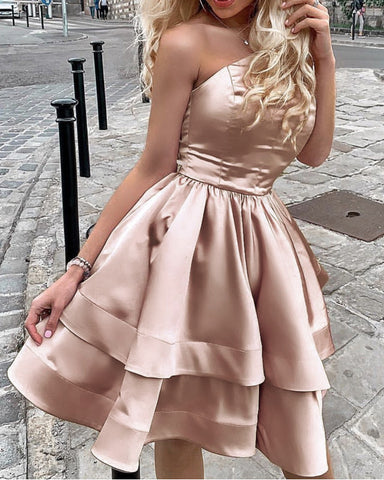 Champagne Homecoming Dresses One Shoulder