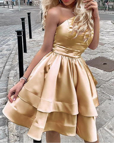 Image of Gold Homecoming Dresses One Shoulder