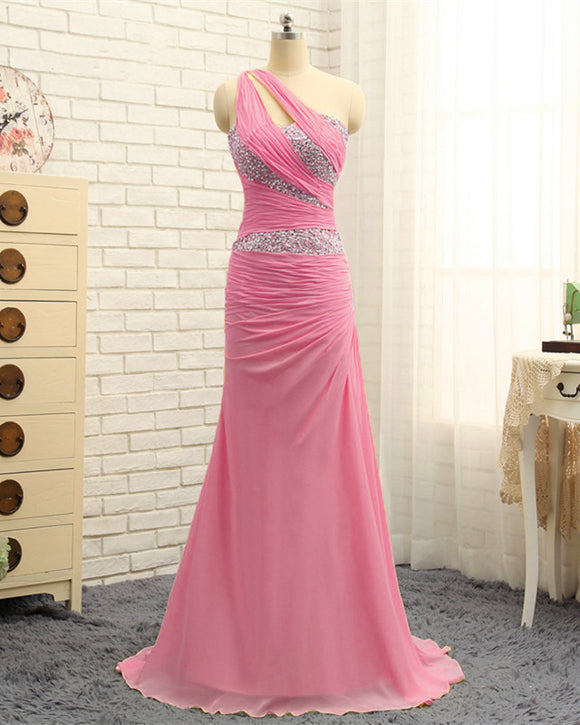 Pink One Shoulder Prom Dresses 2020