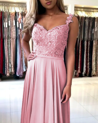 Image of Dusty Pink Bridesmaid Dresses Long Chiffon Lace Beaded Spaghetti Straps