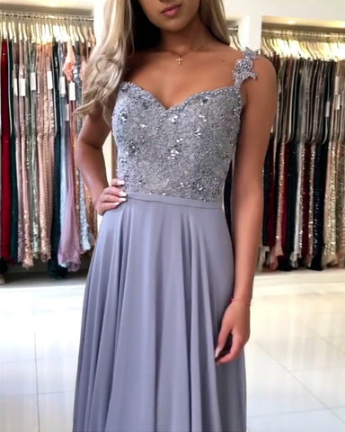 Image of Steel Blue Bridesmaid Dresses Long Chiffon Lace Beaded Spaghetti Straps