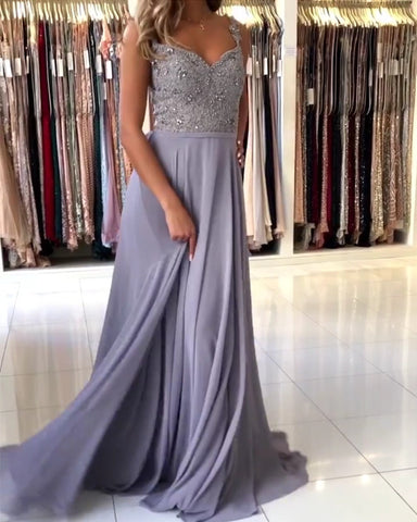 Image of Elegant Bridesmaid Dresses Long Chiffon Lace Beaded Spaghetti Straps