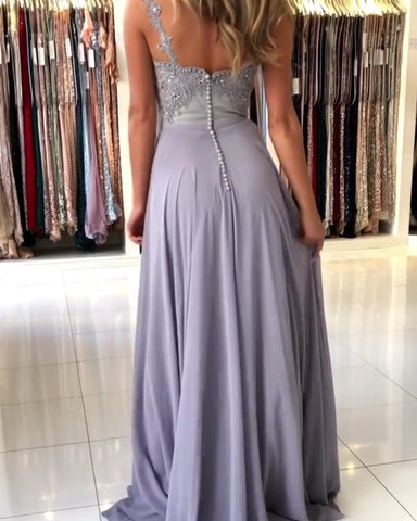 Image of Long Chiffon Steel Blue Prom Dresses Spaghetti Straps