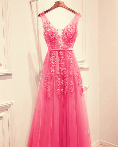 Image of Elegant Tulle Bridesmaid Dresses Pink Lace Appliques