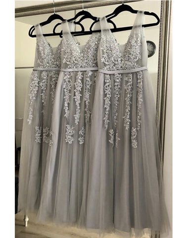 Image of Tulle Floor Length Bridesmaid Dresses Elegant