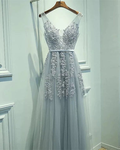 Image of Elegant Tulle Bridesmaid Dresses Silver Lace Appliques