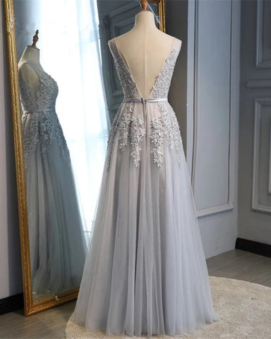 Image of Tulle V Neck Bridesmaid Dresses Lace Appliques