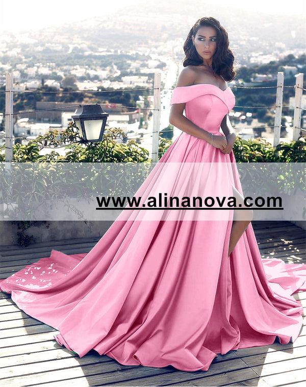 Off Shoulder Long Satin Prom Dresses Womens Formal Evening Gowns