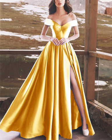 Image of Gold-Prom-Dresses-Long-Satin-Off-Shoulder-Evening-Formal-Gowns-2019-Sexy