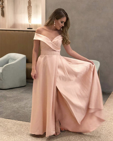 Image of Blush-Pink-Prom-Dresses-Long-Formal-Satin-Evening-Gowns