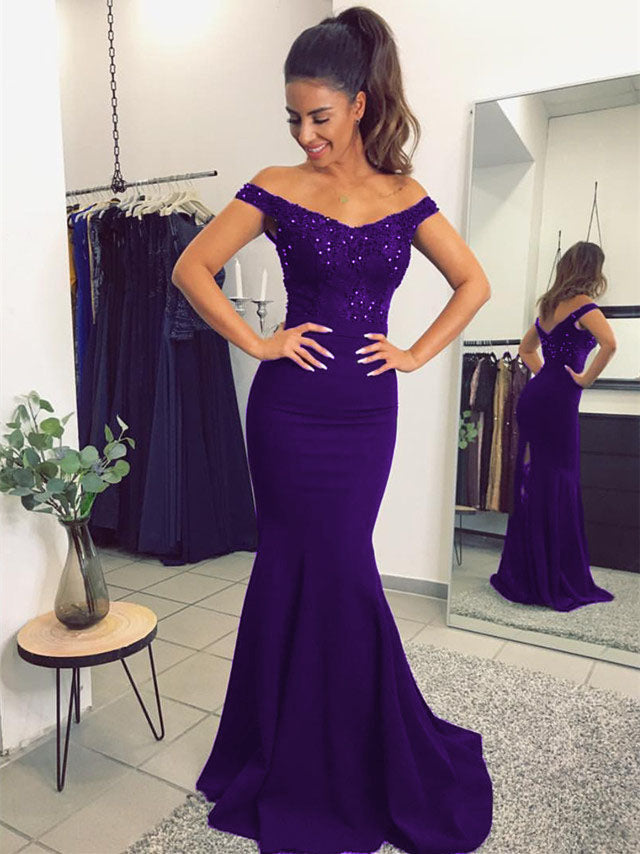 489b3672c7e Purple-Prom-Dresses-2019-Long-Mermaid-Evening-Gowns-. Double tap to zoom