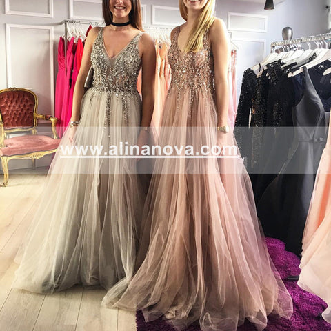 Image of Long-Tulle-Champagne-Evening-Dresses-Beaded-Sequin-Prom-Gowns