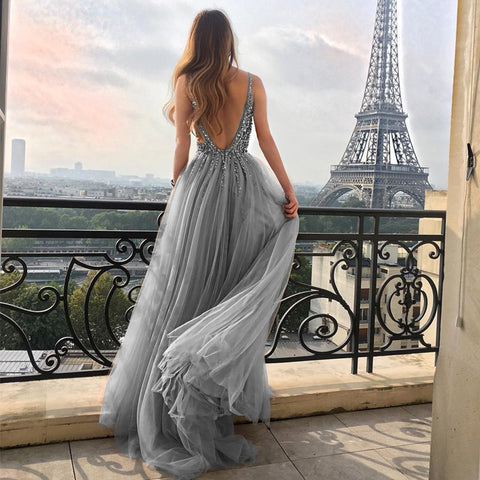 Image of Silver-Evening-Dresses-Long-Tulle-Prom-Gowns-2019
