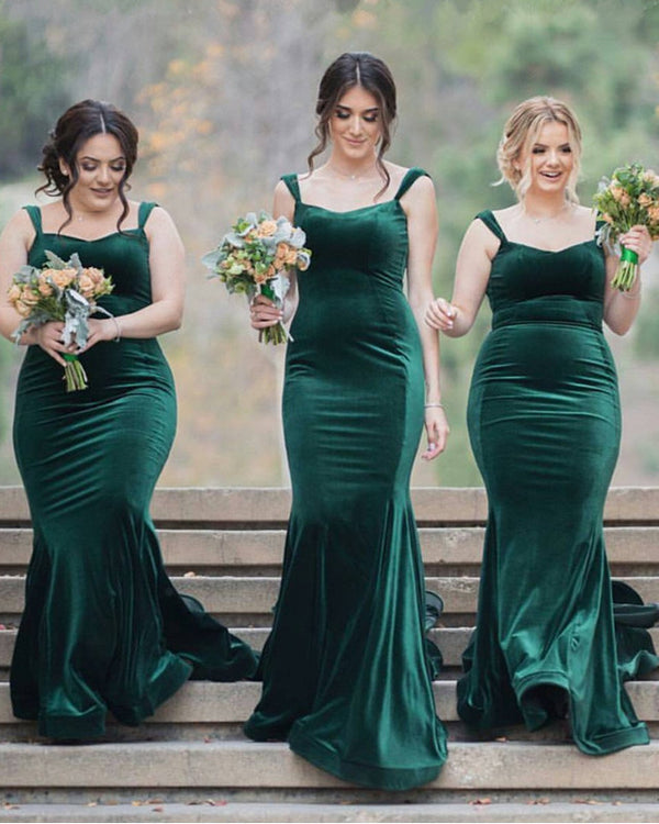 Velvet Bridesmaid Dresses Emerald Green