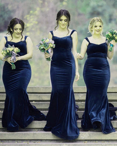 Image of Velvet Bridesmaid Dresses Navy Blue
