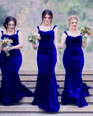 Image of Elegant Sweetheart Mermaid Velvet Bridesmaid Dresses