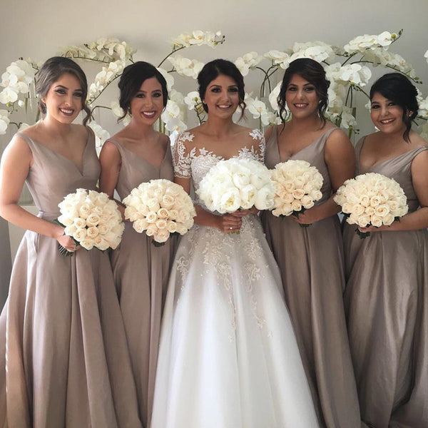 Deep V-neck Long Satin See Through Back Bridesmaid Dresses