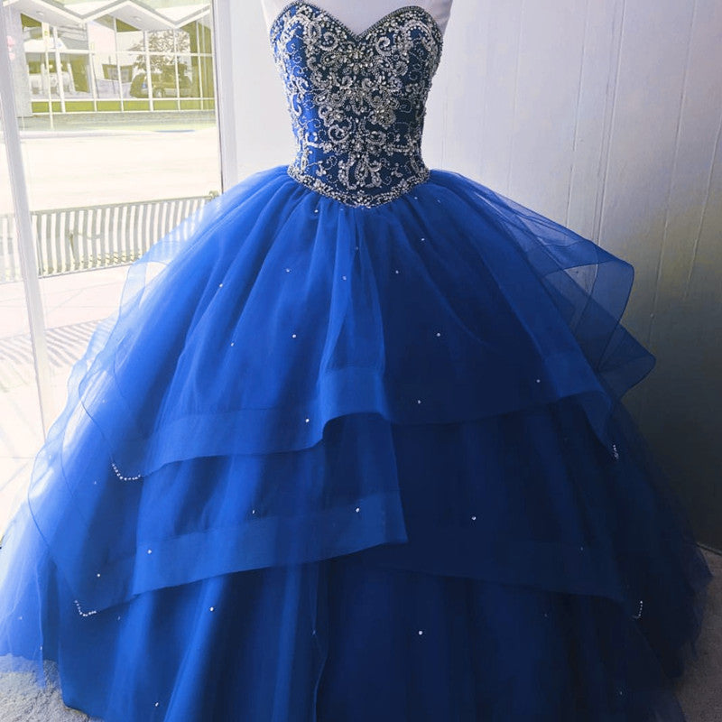 Luxurious Crystal Beaded Bodice Corset Organza Layered Quinceanera Dresses