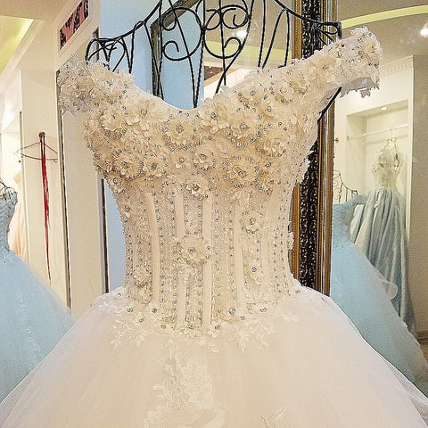 Image of Off The Shoulder Wedding Guest Dresses With Flower And Crystal Beading