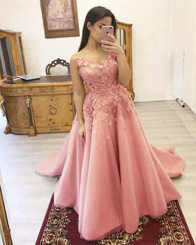 Image of Pink Prom Dresses Appliques