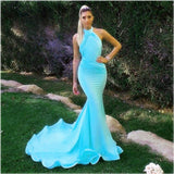 Sexy Long Jersey Halter Evening Dresses Mermaid