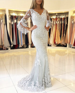 Elegant Puffy Sleeves Lace V-neck Mermaid Prom Evening Dresses