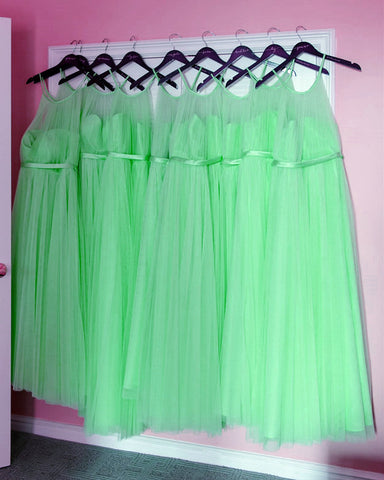 Image of Mint-Green-Dresses-Long-Bridesmaid-Gowns-Halter-Neckline