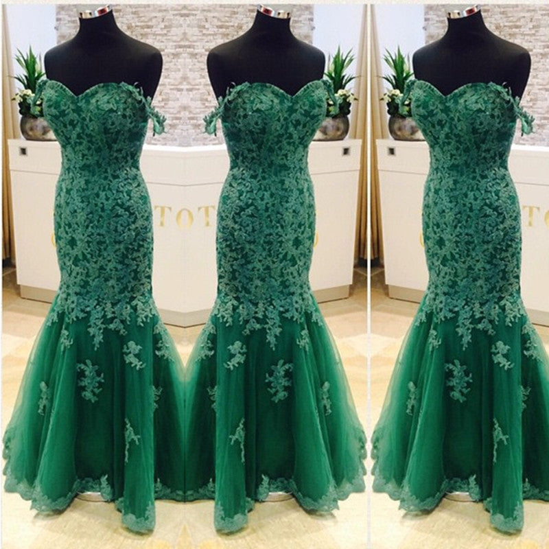 Elegant Green Lace Mermaid Evening Dresses 2017 Women's Prom Gowns