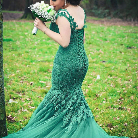 Image of Elegant Green Lace Mermaid Evening Dresses 2017 Women's Prom Gowns