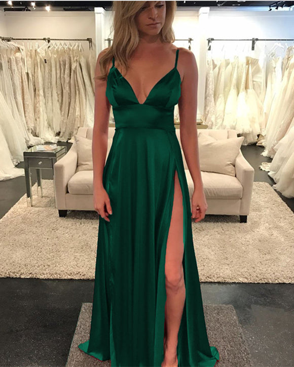 Long-Green-Prom-Dresses-Leg-Slit-Evening-Gowns-2019