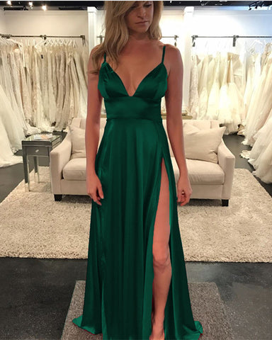 Image of Long-Green-Prom-Dresses-Leg-Slit-Evening-Gowns-2019