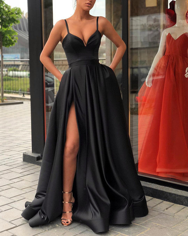 cfc1e19797a 5896 Evening Gown Long Black Satin Slit Prom Dresses. Double tap to zoom