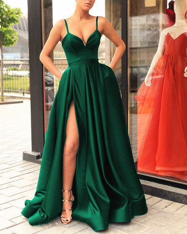 Image of 5896 Evening Gown Long Emerald Green Split Dress