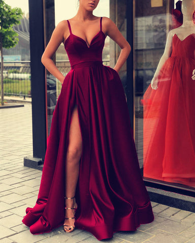 Image of 5896 Evening Gown Long Satin Prom Burgundy Dress