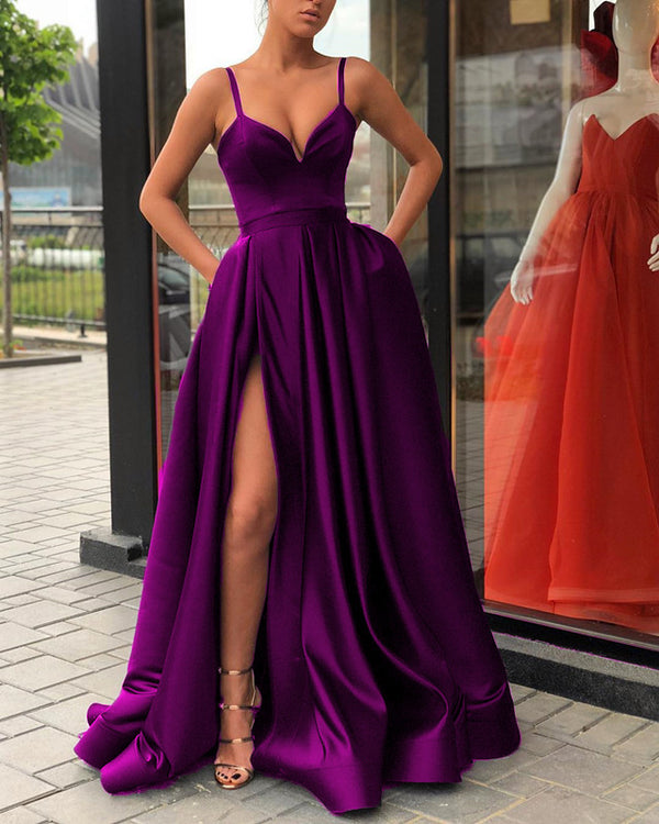 5896 Evening Gown Long Purple Formal Prom Dresses