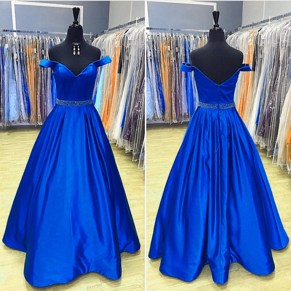 V Neck Off The Shoulder Satin Prom Dresses 2019 Evening Gowns Beaded Sashes