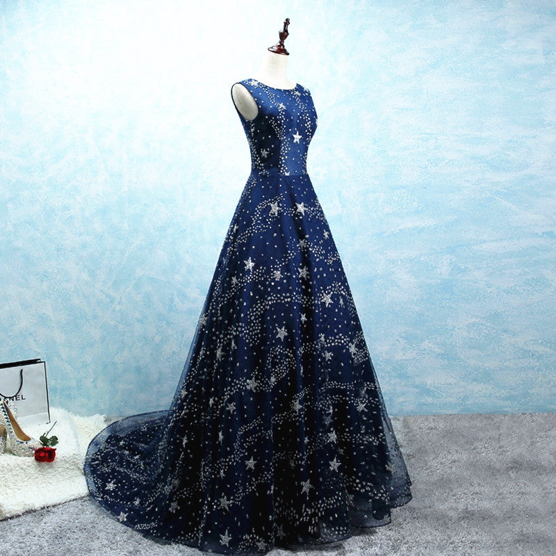 Glitter Stars Sequins Long Tulle Navy Blue Party Dress With Cap Sleeves