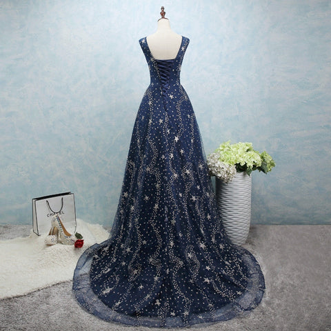 Image of Glitter Stars Sequins Long Tulle Navy Blue Party Dress With Cap Sleeves