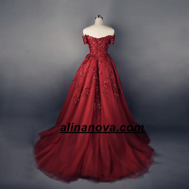 Gorgeous Sequin Lace Sweetheart Off The Shoulder Tulle Evening Gowns