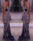Luxurious Mermaid Evening Dresses With Beading Stripes