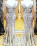 Silver Mermaid Evening Gown