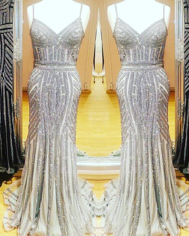 Image of Silver Mermaid Evening Gown