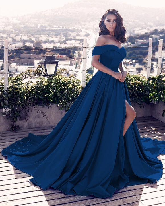 Navy-Blue-Evening-Gowns-Long-Satin-Prom-Dresses