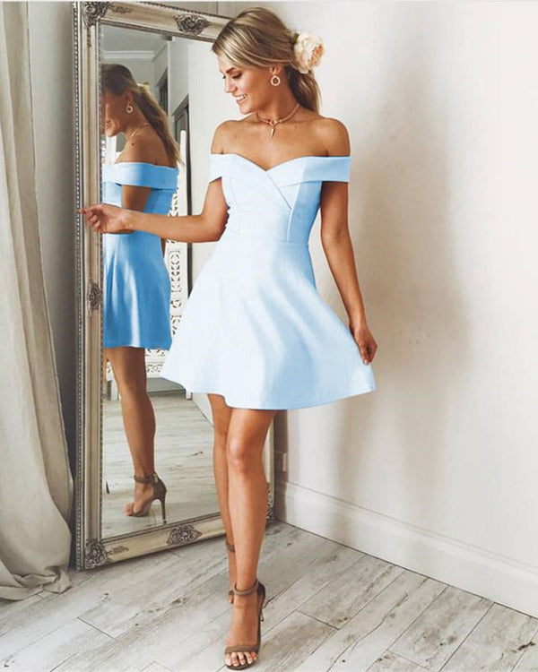 Short Light Blue Homecoming Dresses
