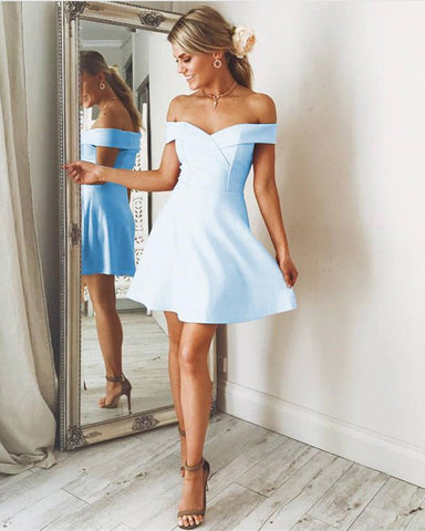 Image of Short Light Blue Homecoming Dresses
