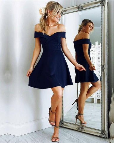 Image of Short Navy Blue Cocktail Dresses