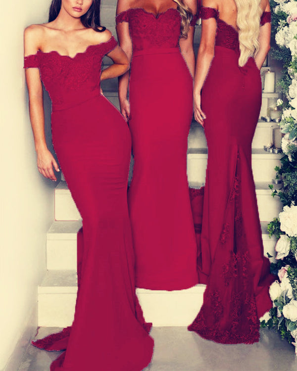 Burgundy-Lace-Appliques-Mermaid-Off-The-Shoulder-Bridesmaid-Dresses