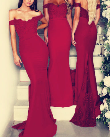 Image of Burgundy-Lace-Appliques-Mermaid-Off-The-Shoulder-Bridesmaid-Dresses